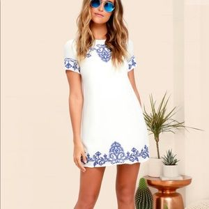 """Lulus """"tale to tell"""" blue and white shift dress"""